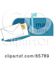 Royalty Free RF Clipart Illustration Of Two Envelopes In A Blue Open Mail Box