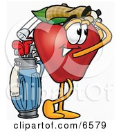 Red Apple Character Mascot Swinging His Golf Club While Golfing Clipart Picture by Toons4Biz