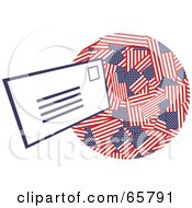 Royalty Free RF Clipart Illustration Of A White Envelope Floating Towards An American Globe