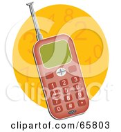 Royalty Free RF Clipart Illustration Of A Red Retro Cell Phone With A Pull Out Antenna Over An Orange Number Circle by Prawny