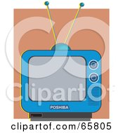 Royalty Free RF Clipart Illustration Of A Blue Retro Tv Set Against A Brown Wall