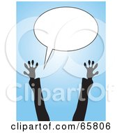 Royalty Free RF Clipart Illustration Of Excited Silhouetted Arms Reaching Up To A Blank Text Balloon by Prawny