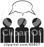 Royalty Free RF Clipart Illustration Of Three Black And White Management Members Brainstorming by Prawny