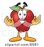 Red Apple Character Mascot With Open Arms While Greeting Someone Clipart Picture by Toons4Biz