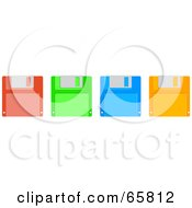 Royalty Free RF Clipart Illustration Of A Row Of Red Green Blue And Orange Floppy Disks by Prawny