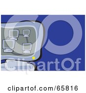 Royalty Free RF Clipart Illustration Of Networked Computers On A Monitor Over Blue
