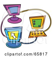 Royalty Free RF Clipart Illustration Of Three Colorful Computers Networked