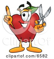 Red Apple Character Mascot Holding A Pair Of Scissors Clipart Picture by Toons4Biz