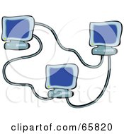 Royalty Free RF Clipart Illustration Of Three Blue Computers Networked