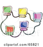 Royalty Free RF Clipart Illustration Of Five Colorful Computers Networked