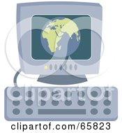 Royalty Free RF Clipart Illustration Of A Globe On A Desktop Computer Monitor