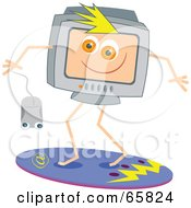 Royalty Free RF Clipart Illustration Of A Surfing Computer Holding A Mouse by Prawny