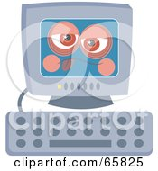 Royalty Free RF Clipart Illustration Of A Computer Feeling Under The Weather by Prawny