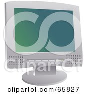 Royalty Free RF Clipart Illustration Of A Gray Computer Screen With A Gradient Screensaver by Prawny