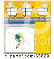 Royalty Free RF Clipart Illustration Of Cash Filled Shopping Carts On A Road Over A Computer Window by Prawny