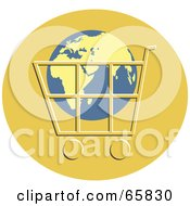 Royalty Free RF Clipart Illustration Of A Globe In A Shopping Cart Over An Orange Circle by Prawny