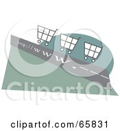 Royalty Free RF Clipart Illustration Of Shopping Carts On A WWW Roadway