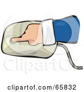 Royalty Free RF Clipart Illustration Of A Hand Pushing Down On A Computer Mouse by Prawny