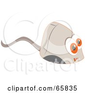 Royalty Free RF Clipart Illustration Of A Computer Mouse With Big Orange Eyes by Prawny