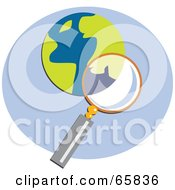 Royalty Free RF Clipart Illustration Of A Magnifying Glass Searching A Blue And Yellow Globe