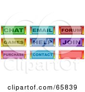 Royalty Free RF Clipart Illustration Of A Digital Collage Of Chat Email Forum Games Help Join Purchase Contact And Blank Web Buttons by Prawny