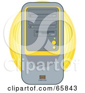 Royalty Free RF Clipart Illustration Of A Modern Desktop Computer Tower With Yellow Accents by Prawny