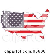Royalty Free RF Clipart Illustration Of An American Flag Map