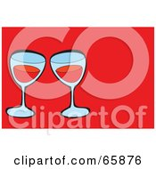 Royalty Free RF Clipart Illustration Of Two Glasses Of Red Wine On Red by Prawny