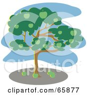 Royalty Free RF Clipart Illustration Of A Green Apple Tree With A Blue Sky by Prawny