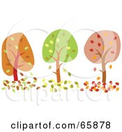 Royalty Free RF Clipart Illustration Of A Row Of Three Autumn Trees In Orange Green And Red