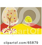 Royalty Free RF Clipart Illustration Of A Hilly Landscape With Autumn Trees by Prawny