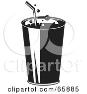 Royalty Free RF Clipart Illustration Of A Fizzy Black And White Fountain Soda