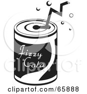 Royalty Free RF Clipart Illustration Of A Black And White Straw In A Soda Can