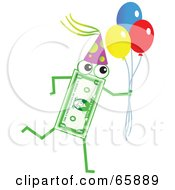 Royalty Free RF Clipart Illustration Of A Banknote Character Carrying Party Balloons