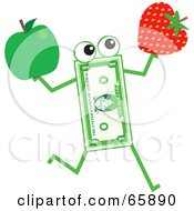 Royalty Free RF Clipart Illustration Of A Banknote Character Carrying A Strawberry And Apple by Prawny