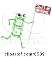 Royalty Free RF Clipart Illustration Of A Banknote Character Carrying A Union Jack Flag