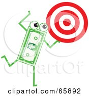 Royalty Free RF Clipart Illustration Of A Banknote Character Carrying A Target