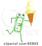 Royalty Free RF Clipart Illustration Of A Banknote Character Carrying An Ice Cream Cone