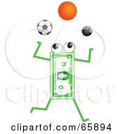 Royalty Free RF Clipart Illustration Of A Banknote Character Juggling Soccer Basketball And Pool Balls by Prawny