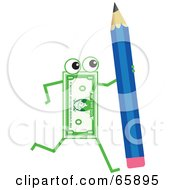 Royalty Free RF Clipart Illustration Of A Banknote Character Carrying A Pencil