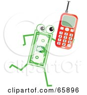 Royalty Free RF Clipart Illustration Of A Banknote Character Carrying A Cell Phone