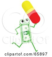 Royalty Free RF Clipart Illustration Of A Banknote Character Carrying A Pill