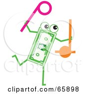 Royalty Free RF Clipart Illustration Of A Banknote Character Carrying Noise Makers