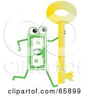 Royalty Free RF Clipart Illustration Of A Banknote Character Carrying A Skeleton Key