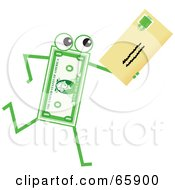 Royalty Free RF Clipart Illustration Of A Banknote Character Carrying A Letter