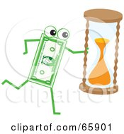 Royalty Free RF Clipart Illustration Of A Banknote Character Carrying An Hourglass