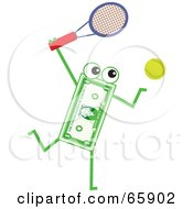 Royalty Free RF Clipart Illustration Of A Banknote Character Playing Tennis