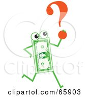 Royalty Free RF Clipart Illustration Of A Banknote Character Carrying A Question Mark