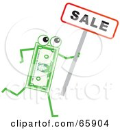 Royalty Free RF Clipart Illustration Of A Banknote Character Holding A Sale Sign