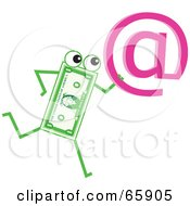 Royalty Free RF Clipart Illustration Of A Banknote Character Carrying A Pink At Symbol